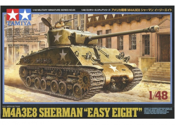 "32595 Tamiya Американский средний танк M4A3E8 Sherman ""Easy Eight"" с фигурой командира (1:48)"