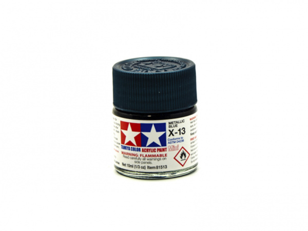 X-13 Metallic Blue, acrylic paint mini 10 ml. (Синий Металлик) Tamiya 81513