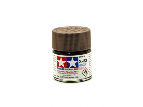 X-33 Bronze metallic, acrylic paint mini 10 ml. (Бронза металлик) Tamiya 81533