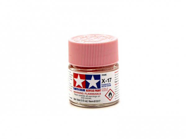 X-17 Pink gloss, acrylic paint mini 10 ml. (Розовый глянцевый) Tamiya 81517