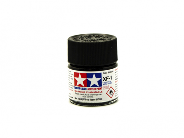 XF-1 Flat Black, acrylic paint mini 10 ml. (Чёрный Матовый) Tamiya 81701