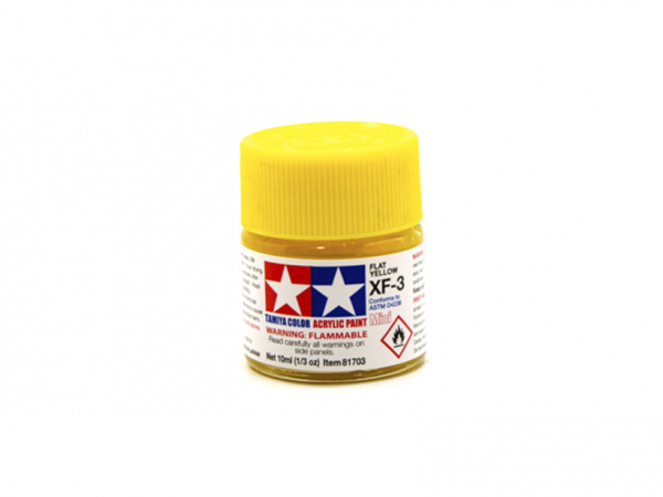 XF-3 Flat Yellow, acrylic paint mini 10 ml. (Жёлтый матовый) Tamiya 81703