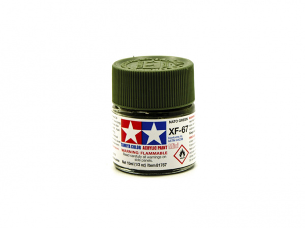 XF-67 NATO Green flat, acrylic paint mini 10 ml. (НАТО Зелёный матовый) Tamiya 81767