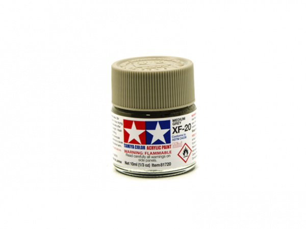 XF-20 Medium Grey flat, acrylic paint mini 10 ml. (Средне-серый матовый) Tamiya 81720